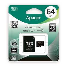 Карта памяти Apacer microSDHC 64GB UHS-I U1 CLASS 10 (AP64GMCSX10U1-R) + SD адаптер