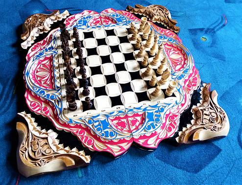 Шахматы-нарды-шашки подарочные + шкатулка для фигур, фото 2