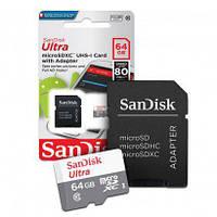 Карта памяти SANDISK MICROSDXC 64GB CLASS 10 ULTRA (SDSQUNS-064G-GN3MA) + SD адаптер