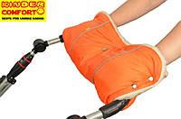 Муфта для рук на кнопках на детскую коляску, овчина, Оранжевая