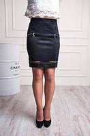Замшевая юбка карандаш Чёрная