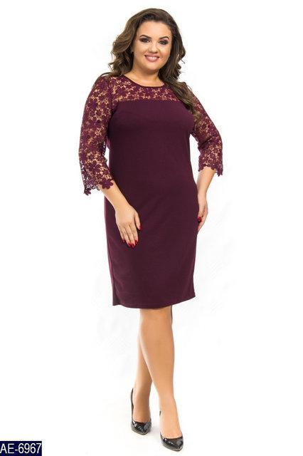 Праздничное женское платье креп дайвинг+кружево, батал р. 50-56