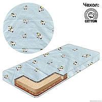 Матрас детский в кроватку кокос - поролон - гречка - хлопок - Овечка, цвет голубой