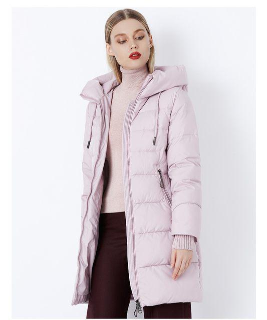 Пуховик полупальто женский стеганый зимний приталенный с капюшоном на молнии светло розовый пудра стильный