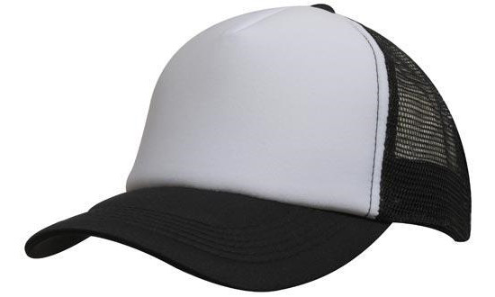 Кепка тракер с сеткой черная/белая Headwear proffesional - 00607