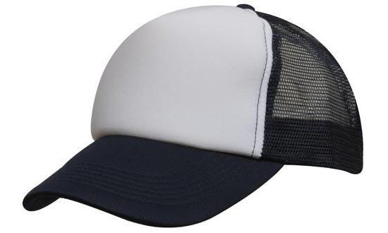 Кепка тракер с сеткой темно синяя/белая Headwear proffesional - WHBL3803