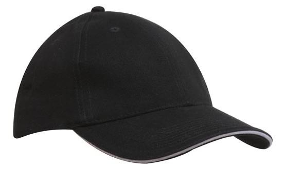 Кепка-сэндвич черная с белой полоской Headwear proffesional - 00612