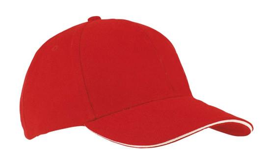 Кепка-сэндвич красная с белой полоской Headwear proffesional - 00618