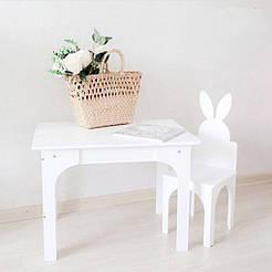 Столик Зайчик + стульчик Белый SKU-5