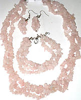Украшения из розового кварца набор