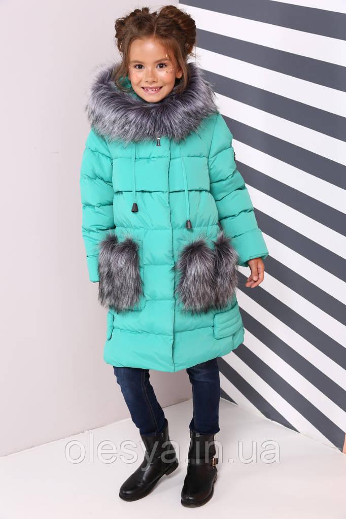Пальто детское Полианна - Бирюза №626