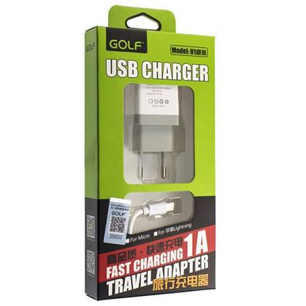 CЗУ-USB универс. Golf (GF-U1) white + cable Type-C , фото 2