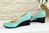 """Кожаные женские туфли на танкетке, бирюзовый цвет. ТМ """"Maestro"""", фото 4"""