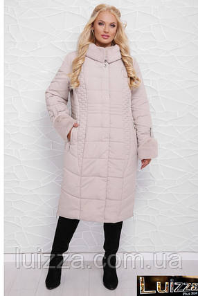 Зимнее плащевое пальто 52 - 60 рр жемчуг, фото 2