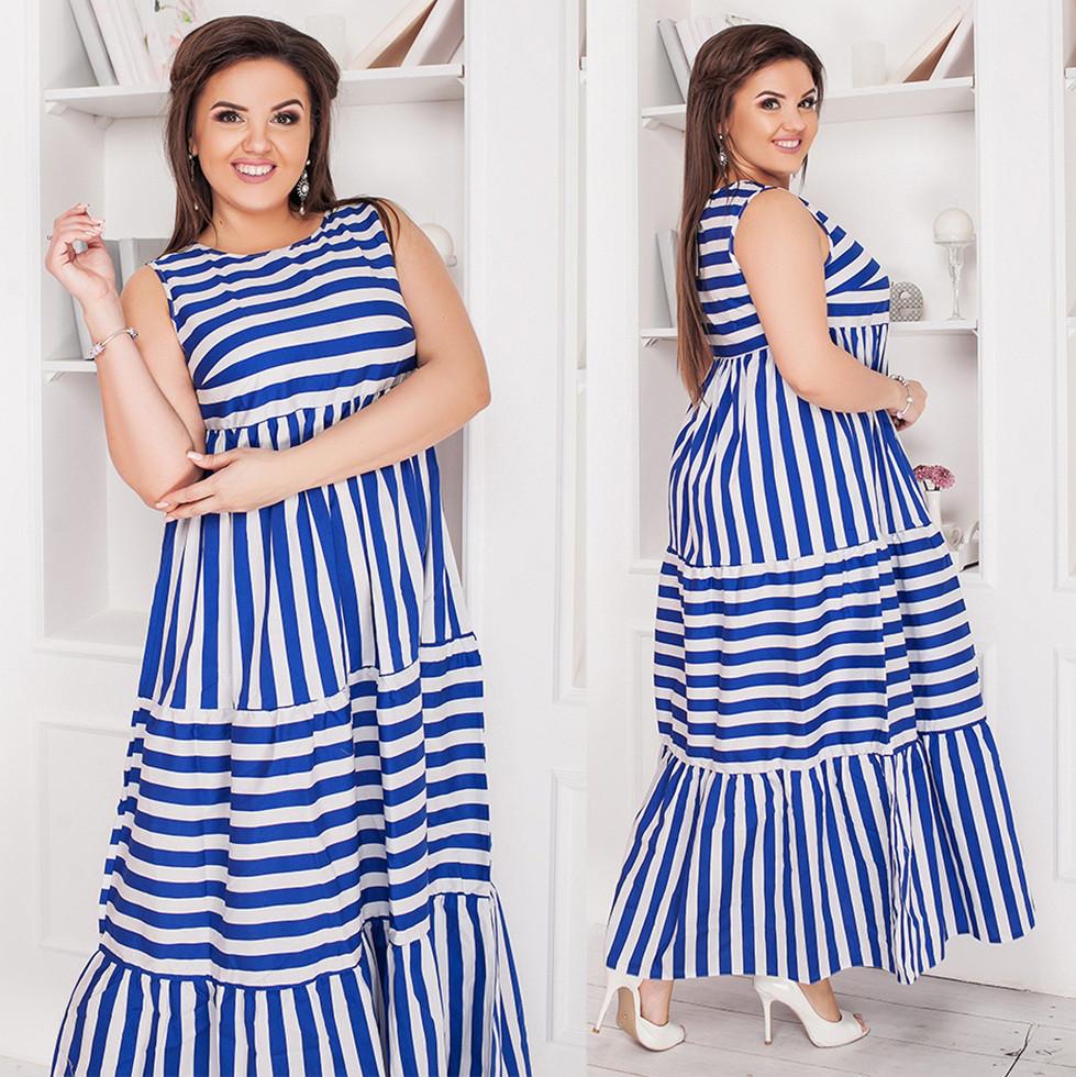 6dfd84a2fc2 Летнее длинное платье в полоску. Синее с белым