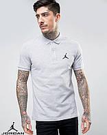 Мужская футболка поло, с воротником Jordan, джордан, серая