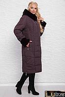 Зимнее плащевое пальто 52 - 60 рр лиловое
