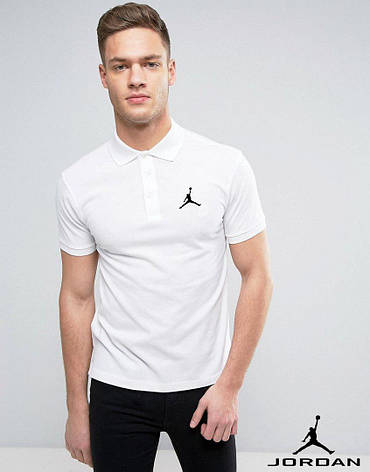 Мужская футболка поло, с воротником Jordan, джордан, белая, фото 2