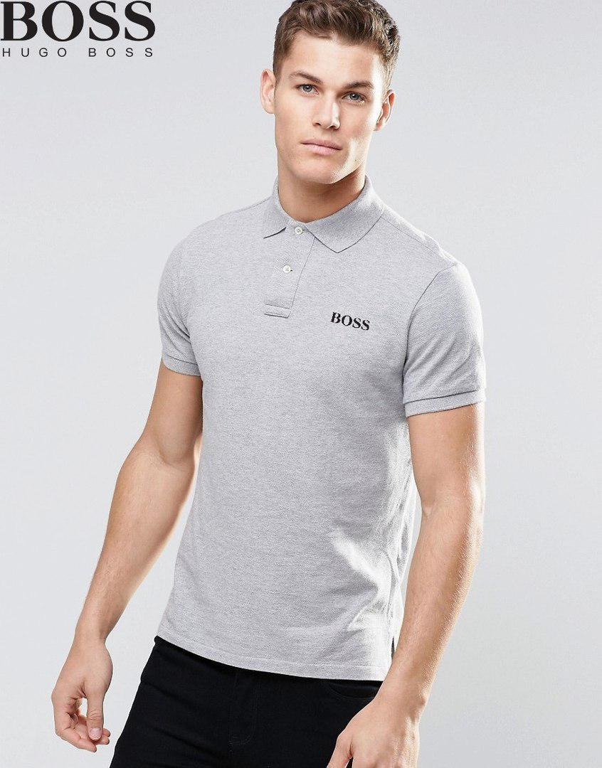 Мужская футболка поло, с воротником Boss, босс, серая