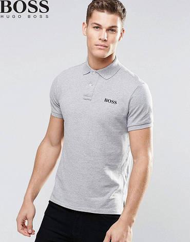 Мужская футболка поло, с воротником Boss, босс, серая, фото 2