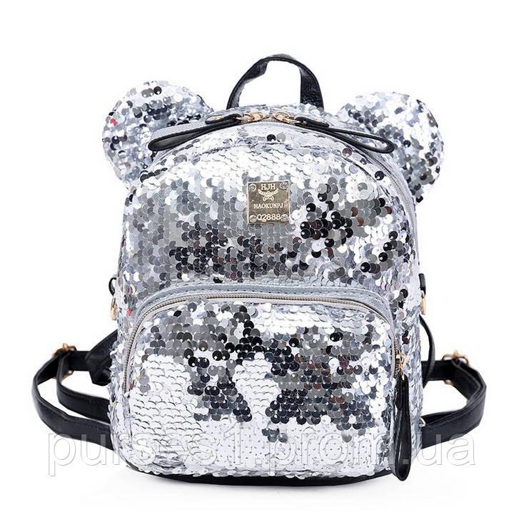 055b9f0b1a2e Женский Рюкзак с пайетками двухсторонние ушками, Рюкзак с пайетками,  женский рюкзак( серебро)