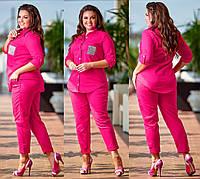 Женский летний брючный костюм. Малиновый, 4 цвета. Р-ры: 48-50,52-54,56-58.