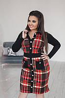 Платье в клеточку с карманами. Красное с коричневым, 4 цвета. Р-ры:48-50,52-54,56-58.