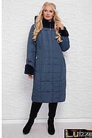 Зимнее плащевое пальто -пуховик на силиконе 52 - 60 рр волна