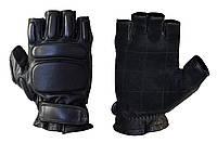 Перчатки тактические кожаные черные