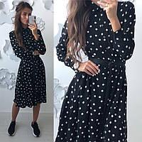 Женское красивое платье-рубашка в горошек , фото 1
