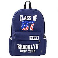 Рюкзак молодёжный BAIYUN материал брезент 30х43х12 синий,  кс735син