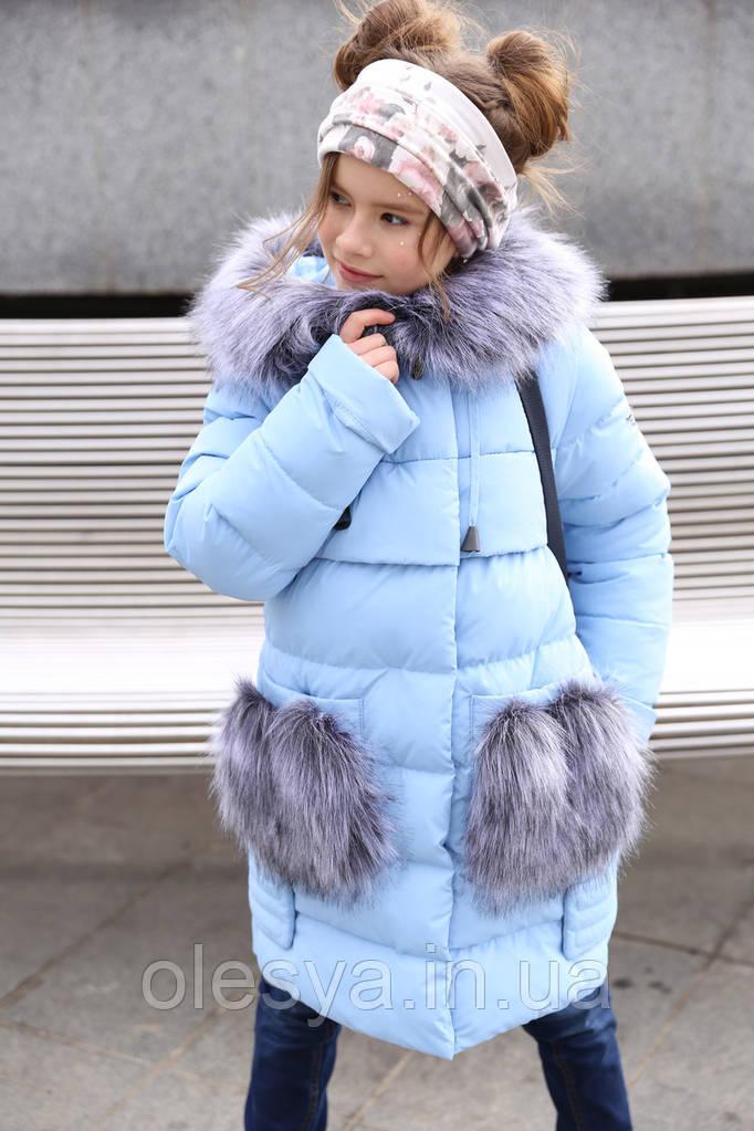 """Зимнее пальто """"Полианна"""" Nui Very c накладными меховыми карманами Размеры 116- 158"""
