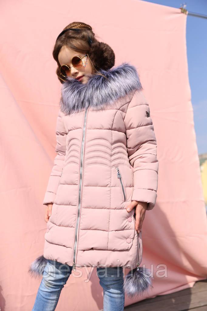 Пальто детское пуховик на девочку Кина - Пудра №721