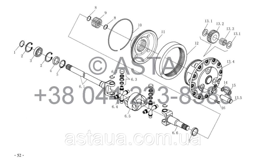 Карданный вал привода и планетарный редуктор передач (II) опция на YTO-X1304