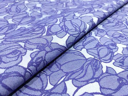 Ткань жаккард коттоновый крупные цветы, синий