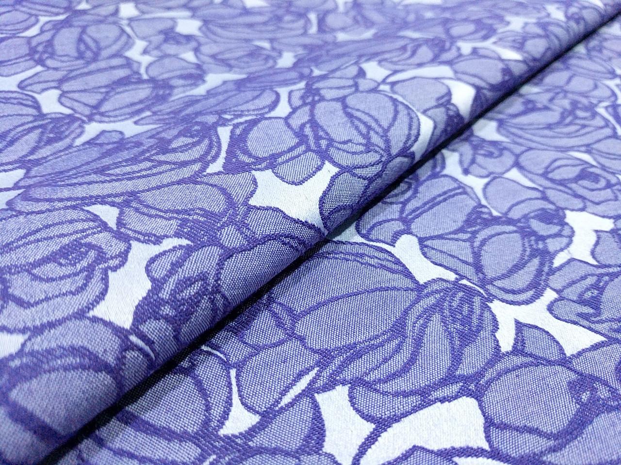 Жаккард коттоновый крупные цветы, синий