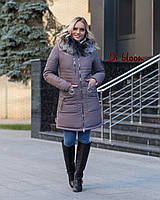 Теплая женская зимняя куртка с мехом и с капюшоном