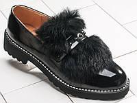 Натуральный мех. Закрытые туфли-Лак MEI black, р.36-41, фото 1