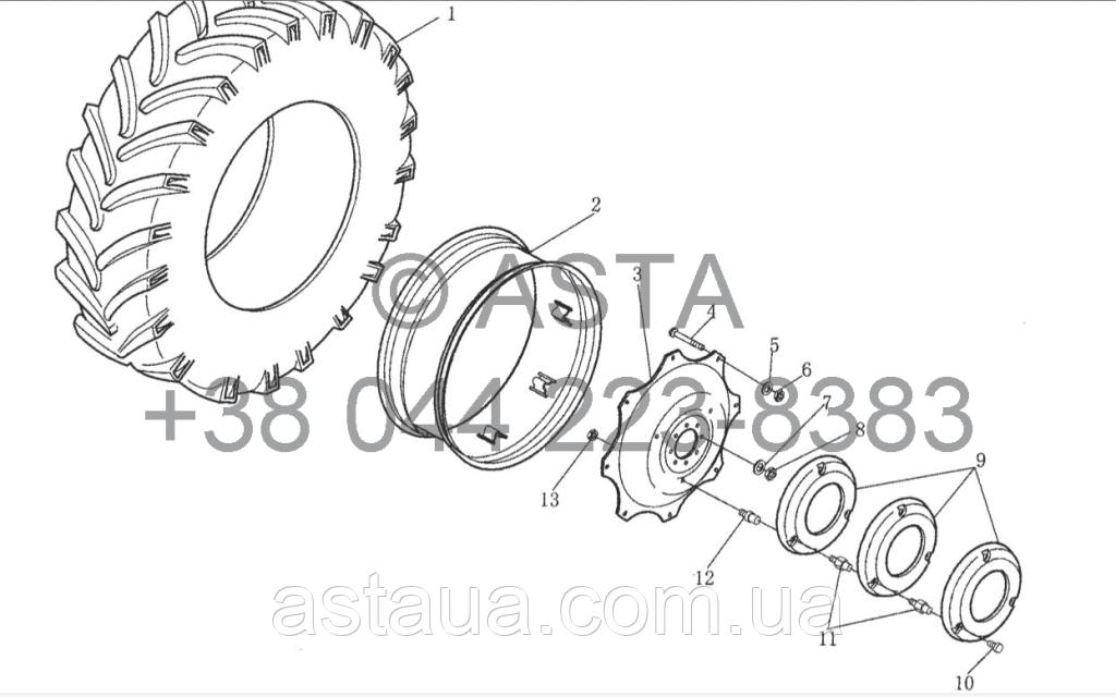 Колесо (Задний Привод) на YTO X1304
