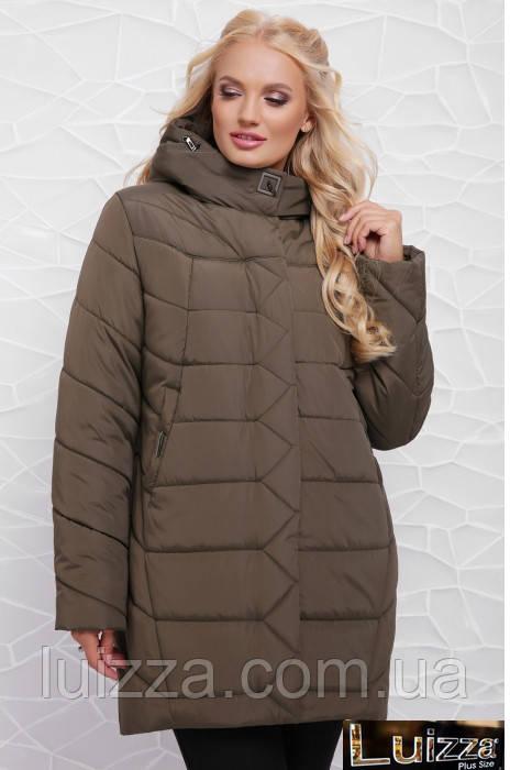 Женская куртка свободного кроя 52,54,58 рр хаки