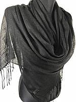 Женский легкий черный шарф из льна (цв.6)
