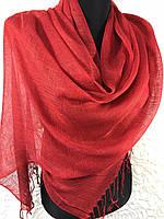 Женский легкий красный шарф из льна