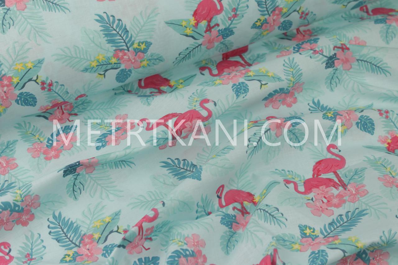 "Ткань хлопковая "" Фламинго с цветами"" на лазурном фоне  №1170"
