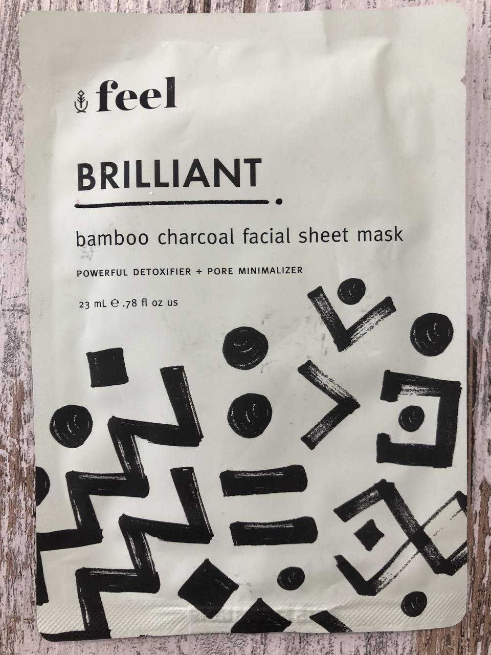 Тканевая детокс-маска FEEL Brilliant Bamboo Charcoal Sheet Mask