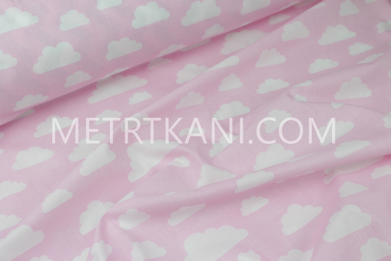 "Ткань хлопковая  "" Облака"" белые на розовом  №1174"