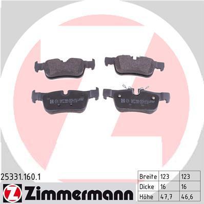 Комплект тормозных колодок, дисковый тормоз ZIMMERMANN 253311601 на BMW i3 (I01)