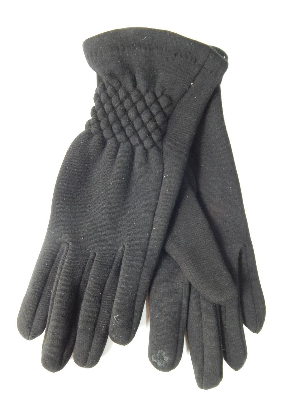Сенсорные женские перчатки трикотаж/флис оптом