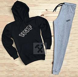 Мужской спортивный костюм Huf черного и серого цвета (люкс копия)