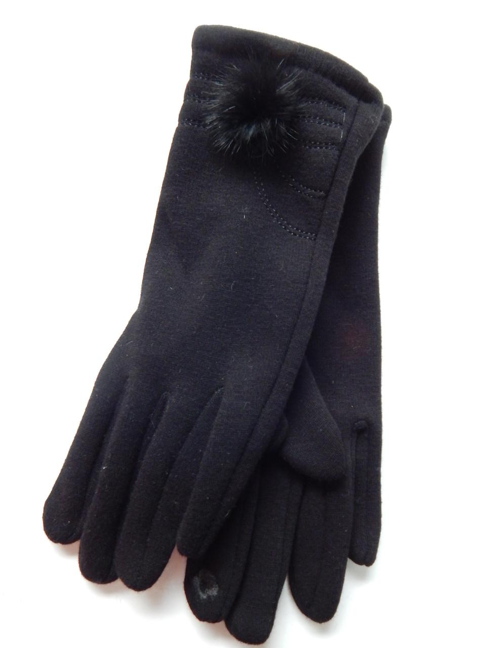 Сенсорные женские перчатки трикотаж/тонкий флис оптом