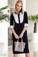 Офисная сине-белое платье-рубашка